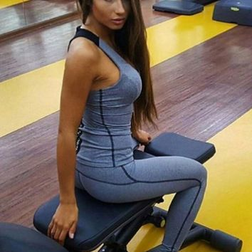 hot sale black gray splicing Yoga suit sportswear tow piece