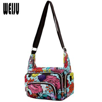 WEIJU Women Messenger Bags 2017 Fashion Printing Nylon Waterproof Women Bag Mummy Casual Bags Shoulder Female YA0476