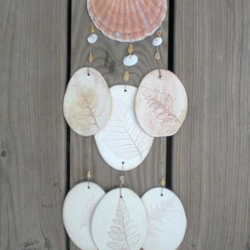 Wind Chime: Brown Seashell and ceramic beach style