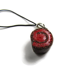 Chocolate Cake Roll With Red Icing Cellphone Strap - Miniature Food Jewelry, Polymer Clay Food