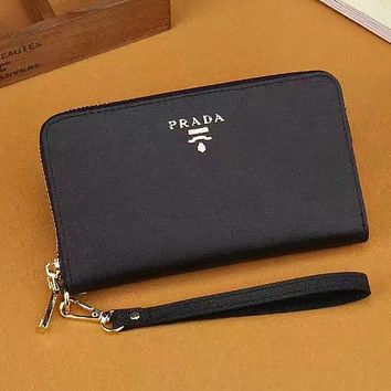 PRADA Women Leather Fashion Purse Wallet