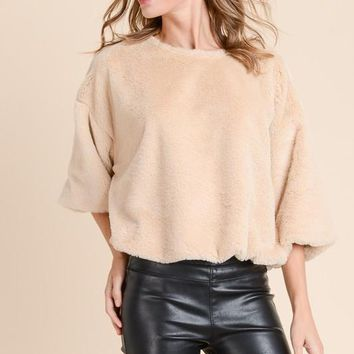 Faux Fur Crop Sweater