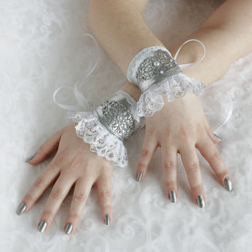 White-silver wrist cuffs, bracelets, wrist wraps, steampunk, lolita, princess, romantic, fairy, fantasy