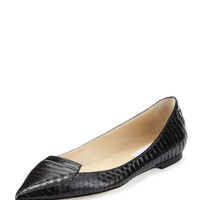 Attila Snakeskin Point-Toe Flat, Black - Jimmy Choo - Black