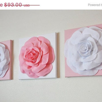 "MOTHERS DAY SALE Wall Decor -Set Of Three Light Pink and White Flower Wall Hangings 12 x12"" Canvas Wall Art-"