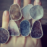 Size 8.5 /// Lux Divine Druzy Stackable Gemstone Ring /// Silver