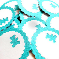 12 Adhesive Labels - Turquoise, 2inch Scallop Circle, Bear Punched, Gift Tags, Baby Shower Favors, Mason Jar Labels, Baby Shower Tags