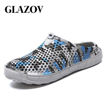 GLAZOV Brand EVA Men Summer Casual Clogs Sandals Garden Beach Shoes Jelly Shoes Breathable Slip-on Man Hole Shoes Size 40-45
