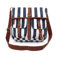 Stripe Crossbody Bag in Navy Cream | Shi by Journeys
