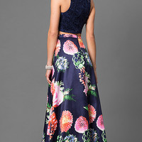 Two-Piece Designer Navy Blue Prom Dress with Lace