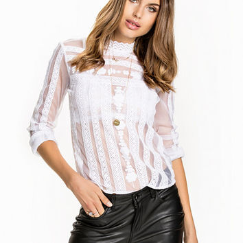 Lace Panel Blouse, NLY Trend