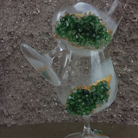 Geode theme Set of 2 hand painted decoratedbrandy glasses Geode design Cognac glasses in green color