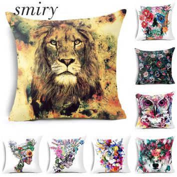 Smiry Nordic Cartoon Animals Lion Fox Flower Skull Cushion Cover Home Decor Pillow Case Polyester Throw Pillow Cover Decorative