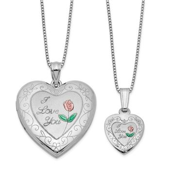925 Sterling Silver Rhodium Plated Rose I Love You Heart Shaped Locket and Pendant Necklace