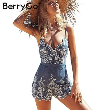 BerryGo Embroidery strap summer jumpsuit romper V neck zipper elegant jumpsuit women Floral playsuit  sexy short overalls