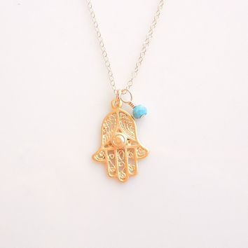Gold Hamsa Necklace with Turquoise