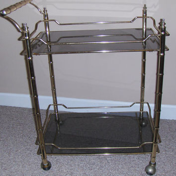 Vintage Bar Cart Brass & Smoked Glass w/ Casters