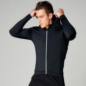 2018 Men Running Jackets Fitness Sports Coat Soccer Football Training Gym corset hooded Breathable Quick Dry Reflective zipper