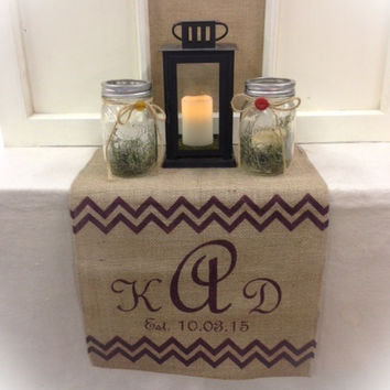 "Burlap Table Runner  15"" wide  monogram sweetheart table"
