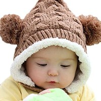 Baby Infant Girls Boys Winter Knit Warm Crochet Rib Pom Pom Hat Cap Hood