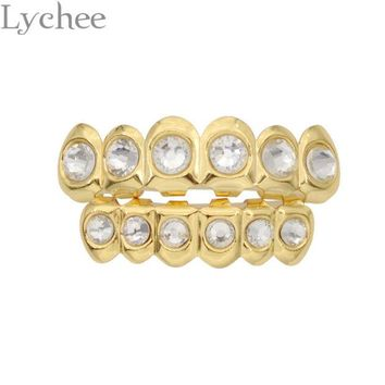 DCCKF4S Lychee Hip Hop Gold Silver Color Rhinestone Crystal Grillz Dental Grills Top Bottom Tooth Caps Body Jewelry for Men Women