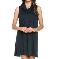 French Terry Cowl Neck Tunic Dress - Navy