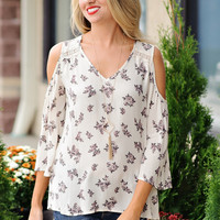 Carly Woven Floral Print Top: Cream
