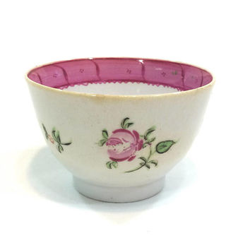 Famille Rose Chinese Export Tea Bowl Cup, 18th Century Porcelain, Pink Green Blue Rose Flowers, Pink Border, 1700s, Antique Estate China