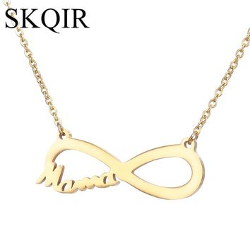 SKQIR Fashion Love Mama Personalized Infinity Pendant Necklace For Women Gift Gold Color Stainless Steel Chain Choker Jewelry