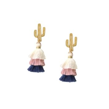 MINI SAGUARO CACTUS LAYERED TASSEL EARRINGS