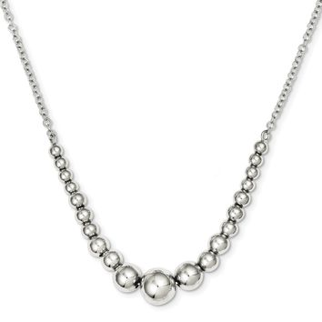 925 Sterling Silver Polished Graduated Round Bead Necklace, Bracelet