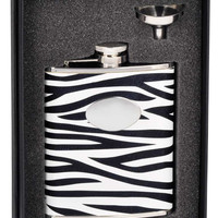 Visol Zebra Black & White Leather Stainless Steel 6oz Flask Gift Set