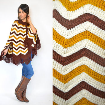 handmade CHEVRON boho hippy retro FRINGED layering PONCHO cape, extra small-medium