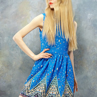 Harajuku Western Stylish Starry Turn-down Collar Dress - Blue or White - S M L XL from Tobi's Finds