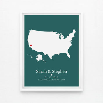 Wedding Gift Personalized United States Map Anniversary or Wedding Custom Location  8x10 Map Print