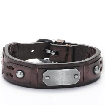 Optimum Cuff Leather Bracelet - Italian Genuine Leather Cuff Vintage Bracelets for Mens by Ritzy