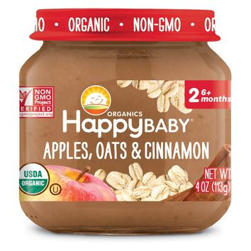 HappyBaby Fruit And Vegetable Snacks Apples, Oats & Cinnamon Baby Food - 4oz