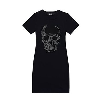 YAMY Brand Women Skull Dress with Rhinestones short sleeve Punk style black bodycon Dress high waist Female vestidos 2017