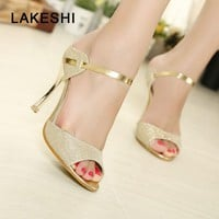 Stiletto Women Pumps Heels Sandals Women Wedding Shoes Fashion Sexy High Heels 9cm Peep Toe Party Ladies Shoes Gold Silver