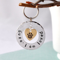 Custom Pet id tag i am loved with heart