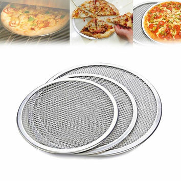 Pizza Stones 10'' to 14'' Reuse Non-Stick Aluminum Mesh Pizza Screen Pasta Baking Tray Net Pizza Holder for Home Pizza Shop