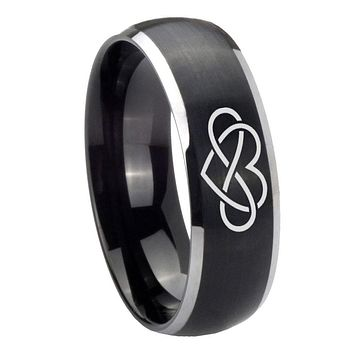 8mm Infinity Love Dome Brushed Black 2 Tone Tungsten Carbide Mens Promise Ring