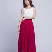 High Waist Long Skirt Chiffon Maxi Skirts Beautiful Pleated Waist Summer Skirt Floor Length Women Skirt (401) ,91#