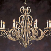 Eight-light Hand-wrought Iron Chandelier with Scroll Motif