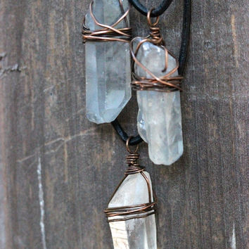 Raw Crystal Necklace Big Crystal Necklace Healing Crystal Necklace Mineral Jewelry Raw Stone Jewelry Lemurian Seed Crystal