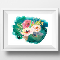 Watercolor flower Print Large Floral wall art printable Teal home decor Pink and peach watercolor flowers Floral bedroom home decor DOWNLOAD