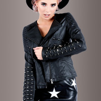 Rebel Soul Studded Faux Leather Biker Jacket