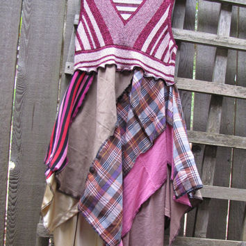 Metallic Pink Plaid Pixie Tunic Top Lagenlook Upcycled/ Funky Asymmetrical Eco Blouse/ Hi Lo Womens Tops S/M