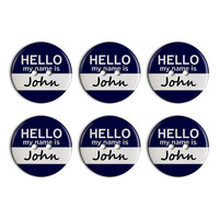 John Hello My Name Is Plastic Resin Button Set of 6