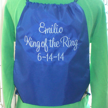 Personalized Cinch Sack Ring Bearer Wedding Party Gift Under 20 Dollars